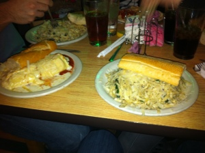 Lasagna Roll (left), Black Pepper Linguini (right)